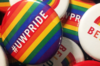 Close-up photo of pride buttons