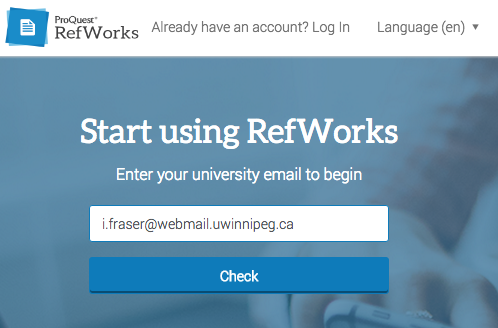 Refworks Sign-up