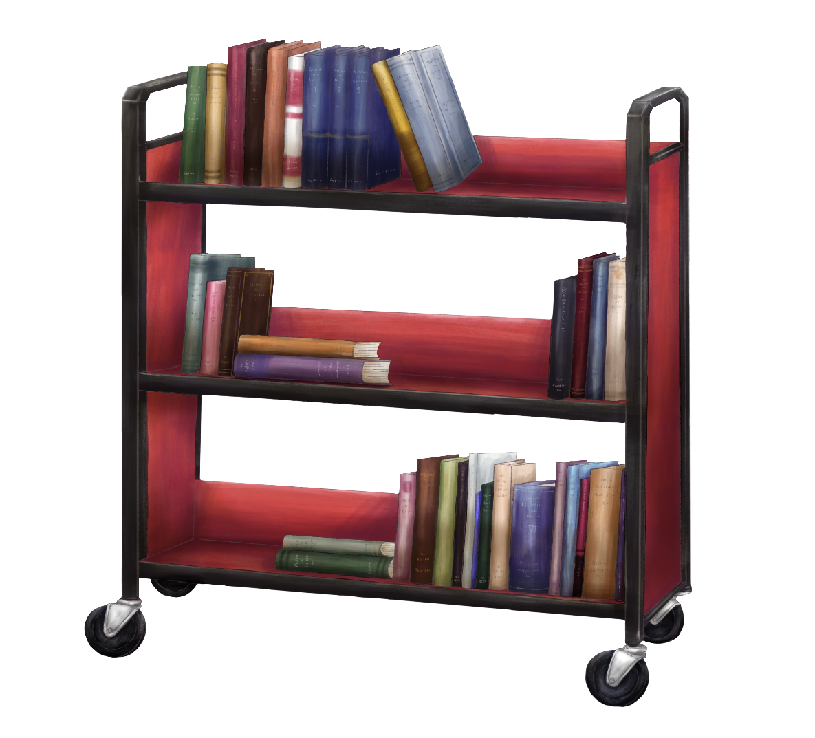 Colourful cart of books