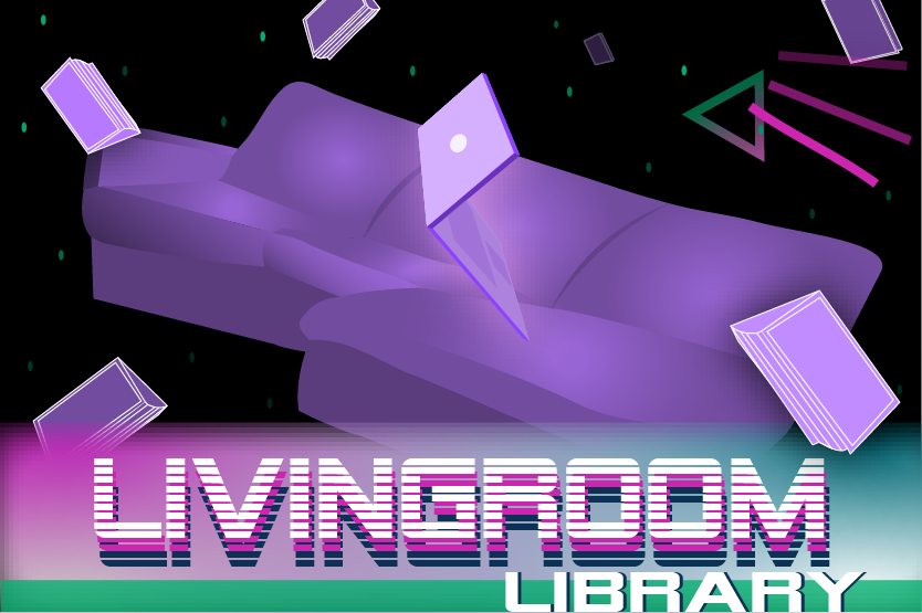 The Living Room Library: A purple couch floats through cyberspace.